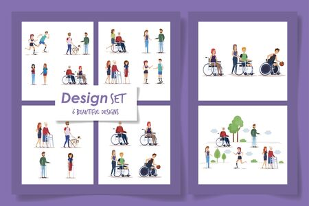 six designs of people disabled scenes vector illustration design