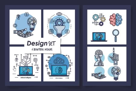 six designs of intelligence artificial and set icons vector illustration design Illustration