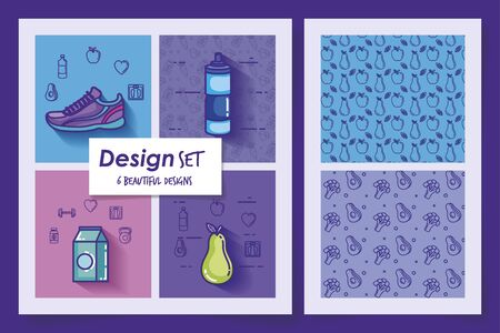 six designs of lifestyle healthy and icons vector illustration design Stockfoto - 135503044