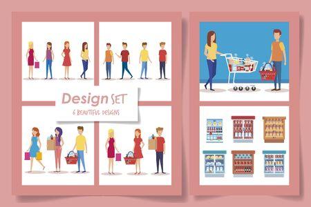 six designs of supermarket customer vector illustration design Reklamní fotografie - 135503050