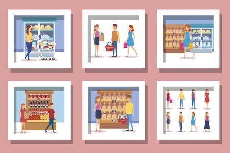 bundle of supermarket customer and icons vector illustration design Reklamní fotografie - 135502983