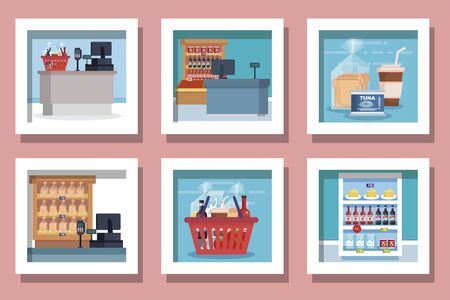 bundle of designs supermarket products vector illustration design