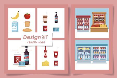 six designs set of products supermarket vector illustration design Reklamní fotografie - 135503056