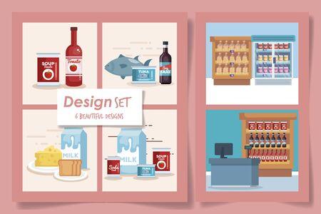 six designs set of products supermarket vector illustration design Reklamní fotografie - 135503064