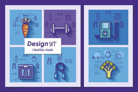 six designs of lifestyle healthy and icons vector illustration design