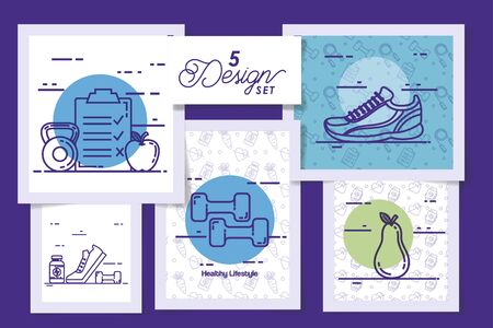 five designs of lifestyle healthy and icons vector illustration design Stockfoto - 135503074