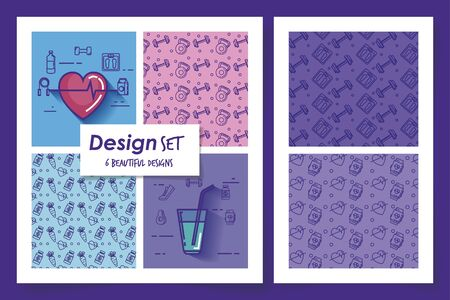 six designs of lifestyle healthy and icons vector illustration design Stockfoto - 135503109