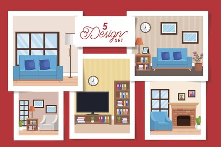 five designs of interiors living room with decoration vector illustration design
