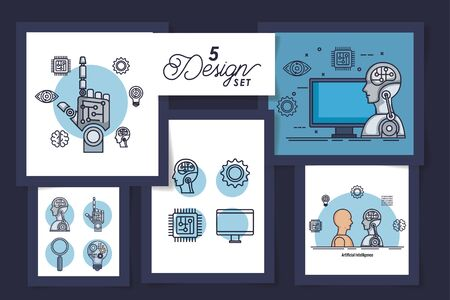 five designs of intelligence artificial and set icons vector illustration design Stock Vector - 135503071
