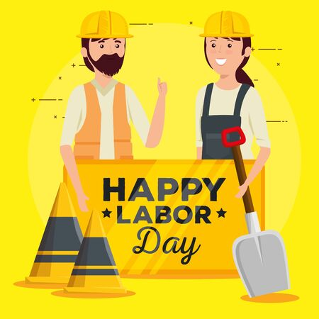 woman and man builders with helmet and emblem to labor day, vector illustration