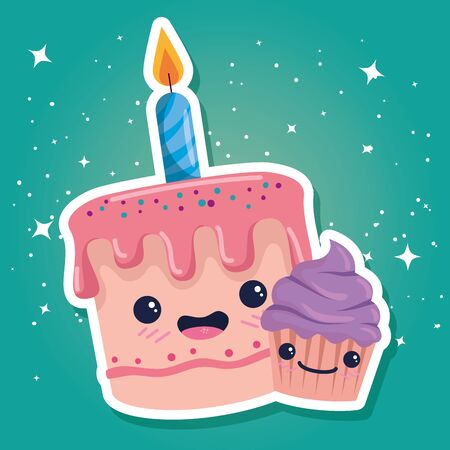 happy cake with candle and sweet muffin to happy birthday, vector illustration Illusztráció