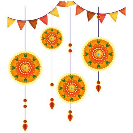 decoratieve mandala's die etnisch vectorillustratieontwerp in boho-stijl hangen Vector Illustratie