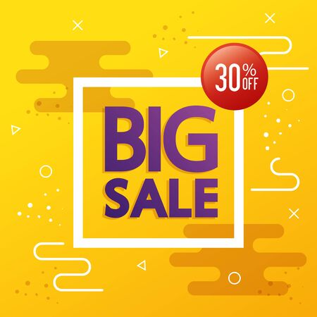 commercial label with big sale lettering vector illustration design
