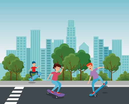 girl and boy playing skateboard in the park with trees and bushes vector illustration