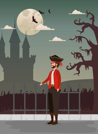 Halloween design with pirate and castle , vector illustration