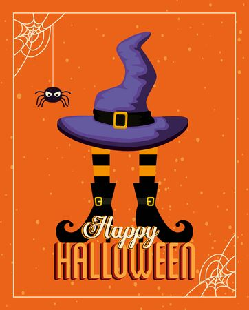 poster halloween with feets and hat witch vector illustration design