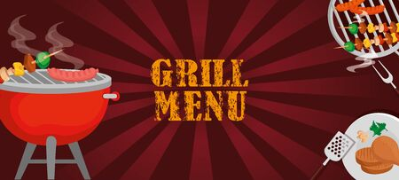 grill menu with oven and delicious food vector illustration design Ilustração