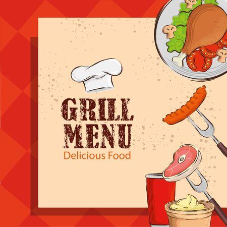 grill menu and delicious food with hat chef vector illustration design Illusztráció