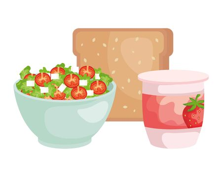 ceramic bowl with vegetables salad and bread vector illustration design