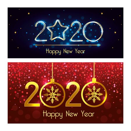 Happy new year 2020 design, Welcome celebrate greeting card happy decorative and celebration theme Vector illustration