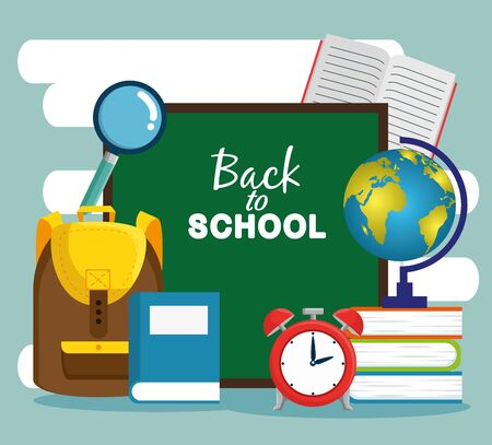 blackboard with backpack and books with magnifying glass to back to school vector illustration