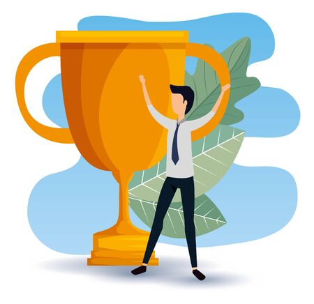 profesional businessman with prize cup and leaves to office strategy, vector illustration Illustration