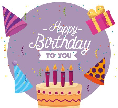 label of sweet cake with candles and present gifts to happy birthday, vector illustration