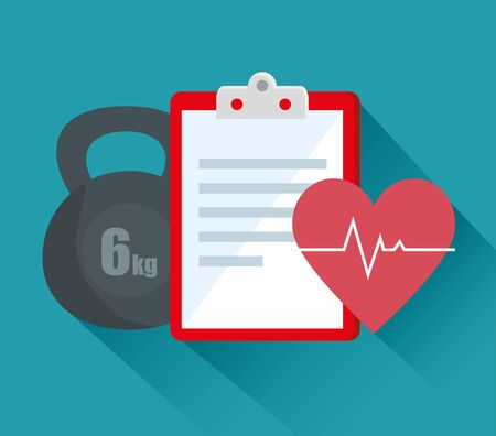 weight with check list and heartbeat to exercise activity over blue background, vector illustration