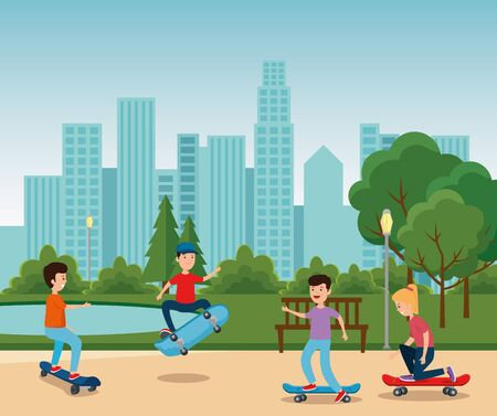 boys and girl playing skateboard in the park with trees and trees vector illustration 向量圖像