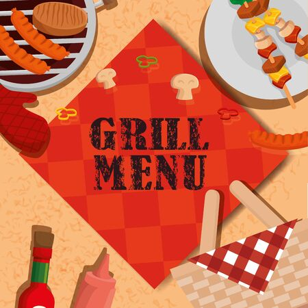 grill menu with tablecloth and delicious food vector illustration design