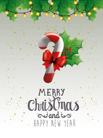 poster of merry christmas and happy new year with sweet cane vector illustration design