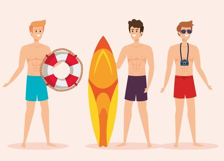set of men wearing bathing shorts with float and surfboard with camera to summer time vector illustration