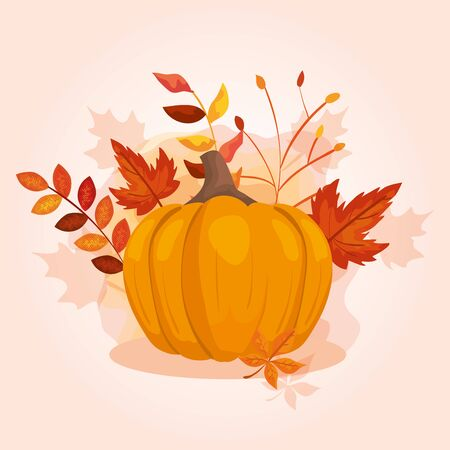 pumpkin with leafs of autumn vector illustration design