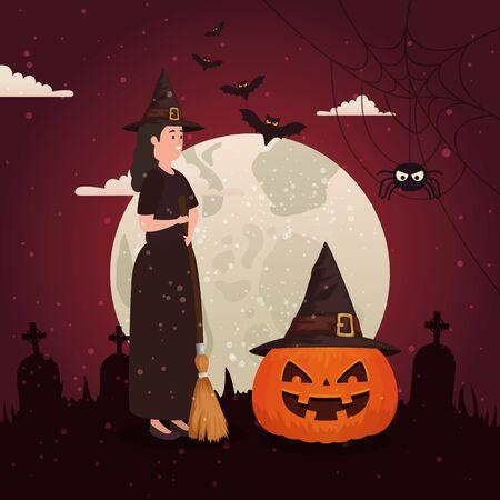 halloween pumpkin with witch in dark night vector illustration design