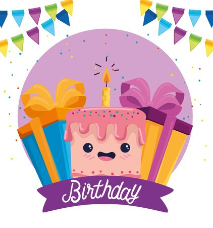 happy cake with candle and presents gifts to birthday event, vector illustration Illusztráció
