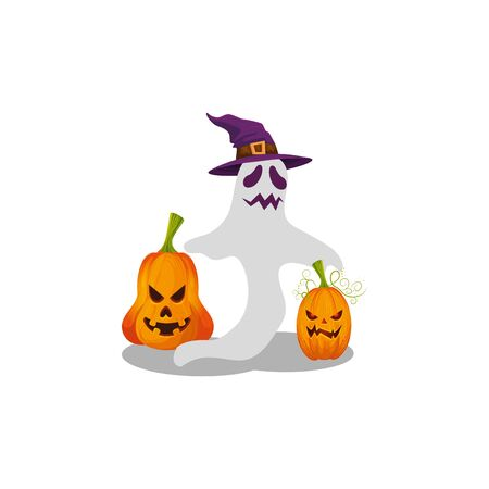 halloween ghost with witch hat and pumpkins vector illustration design Ilustração