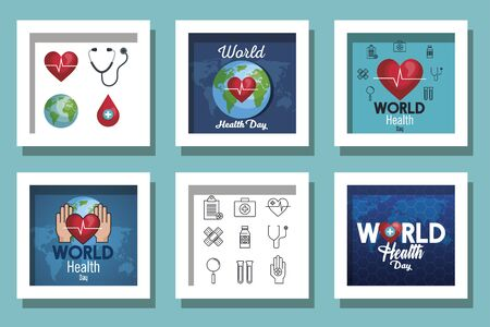 bundle of world health day and set icons vector illustration design Illustration