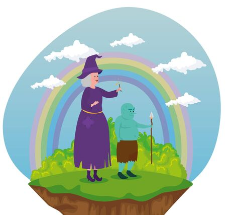 old woman witch and troll with spear and bushes plants to tale character, vector illustration Vektorgrafik