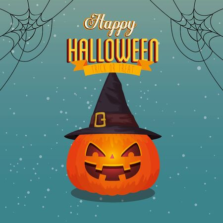 poster of happy halloween with pumpkin and hat witch vector illustration design Ilustracja