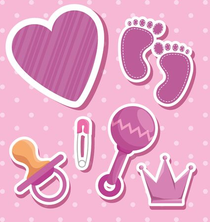 rattle with footprint and pacifier with crown decoration to baby shower vector illustration