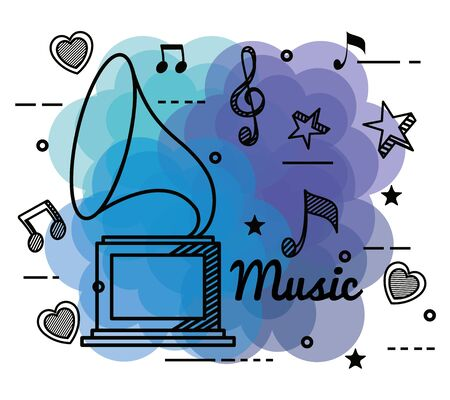 play turntable with treble clef and quaver with beam notes to music melody vector illustration