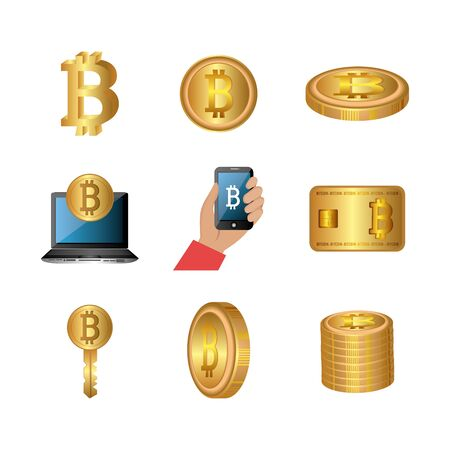 bundle of bitcoins with set icons vector illustration design