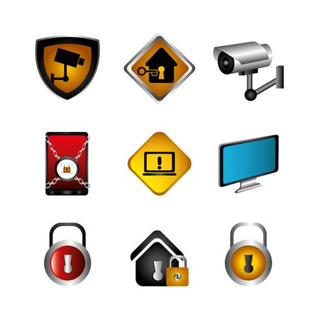 bundle of cyber security and icons vector illustration design Ilustração