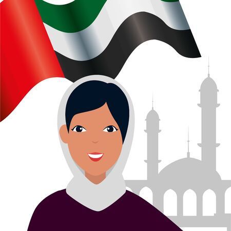 islamic woman with traditional burka and arab flag in mosque vector illustration design Banque d'images - 135546839