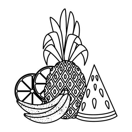 summer fresh fruits nature icons vector illustration design Illustration