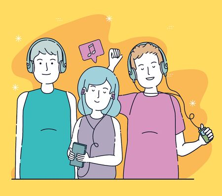 boys and girls friends with headphones and chat bubble over orange background, vector illustration Иллюстрация