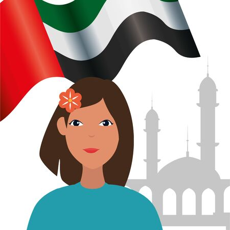 islamic woman with arab flag in mosque vector illustration design Banque d'images - 135546842