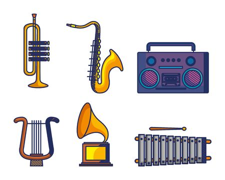 set of instruments with play radio and art turntable over white background vector illustration