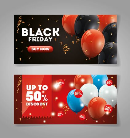 set poster black friday with balloons helium decoration vector illustration design  イラスト・ベクター素材