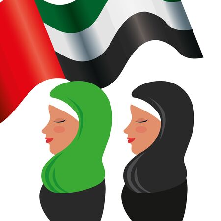 islamic women with traditional burka and emirates arab flag vector illustration design Ilustração